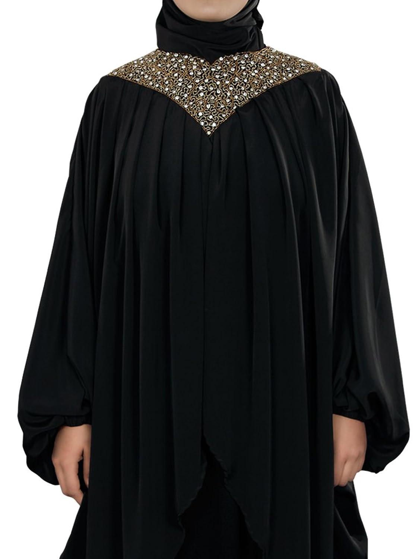 MyBatua Women's Islamic Clothing Sehr Hand Embroidered Kaftan Abaya in Black