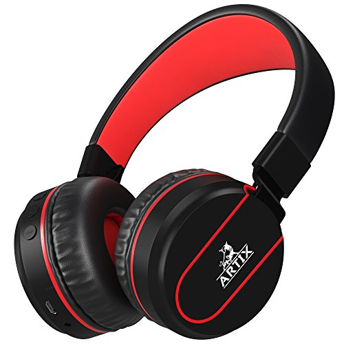 ARTIX Bluetooth Wireless Headphones, Lightweight and Foldable On Ear Earphones NRGSound RS7,for Work,Travel,Sport,Running, 3.5mm Cable Included for Wired Use Great for Kids/Teens/Adults (Black/Red)