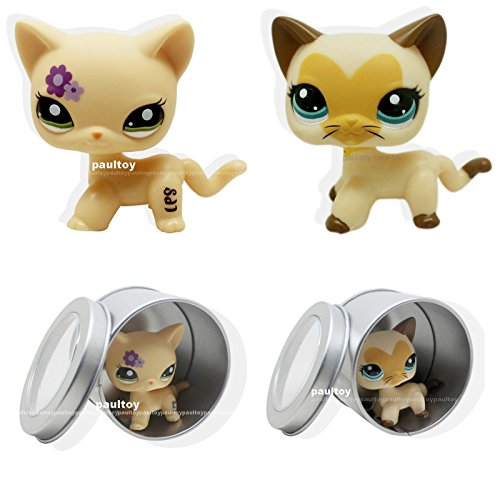 2pcs Littlest Pet Shop RARE Short Hair Cat kitty Green Eyes LPS #3573 #1962
