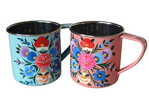 Beautiful Pink & Blue Enamel Camping Mugs (Pair)