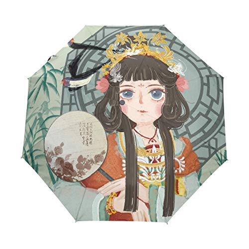 Mr.Lucien Chinese Style Pretty Girl Folk-Custom Costume Colorful Pattern Compact Umbrella, For Automatic Folding Travel Umbrella, Windproof Auto Open/Close for One Handed Operation 2021156]()