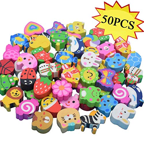 Puzzle Zoo Shaped Animals (Non-Toxic Pencil Erasers, Removable Assembly Zoo Animal Erasers for Party Favors, Fun Games Prizes,Kids Puzzle Toys, 50 Pcs Classroom Prizes, Carnival Gifts and School Supplies(Random Designs))