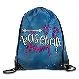 Baseball Mom Ball Unisex Drawstring Backpack Travel Sports Bag Drawstring Beam Port Backpack.