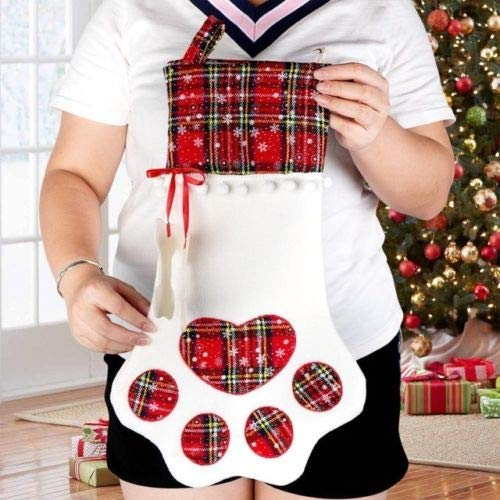 Ornaments Christmas Tree for Home Decorations Red antoolec 2 Pack Plaid Bags Pet Dog Cat Paw Stocking Socks