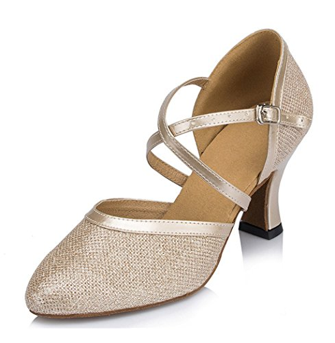 Criss Ballrom Heel High Shoes Modern Salsa Tango Doris Womens Champagne Dance Strap Cross Sandals Latin Tgpzqzw
