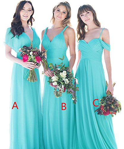 Dress Dresses Chiffon c Party Turquoise Prom Wedding V Maxi Bridesmaid Cdress Evening Gowns Long Neck IX71qS6