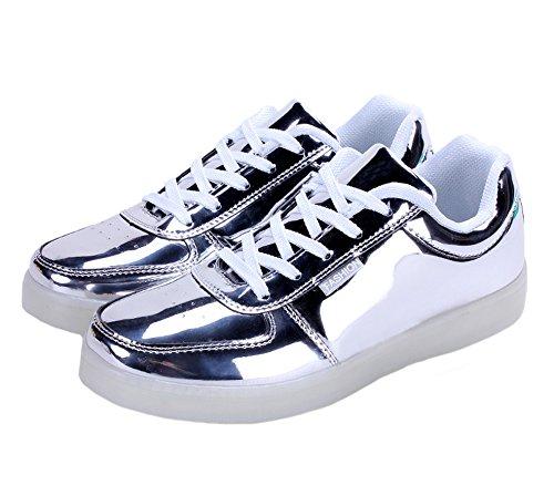 Tortor 1bacha Unisex Uomo Donna Fashion Metallic Led Light Up Lampeggiante Glow Sneaker Luminoso Scarpe Da Skate Argento
