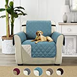 Turquoize Premium Quality Reversible Sofa Cover for Dogs/Kids/Pets, Furniture Protector with Straps (Chair - Blue/Beige, 75'' x 65'')