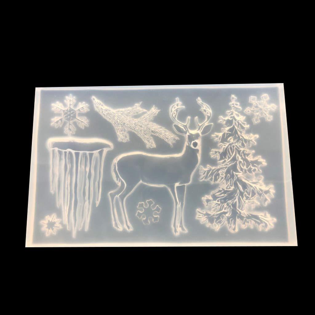 RT-HUI Christmas Deer Snowflake Silicone Mold DIY Resin Santa Claus Pendant Craft Tool