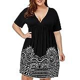 Women's Boho Dress, E-Scenery Plus Size Empire Waist A Line Printed Short Sleeve V-Neck Dresses (Black, XXX-Large)