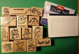 French Only Teacher's Rubber Stamp Set of 14, with Stamp Pad