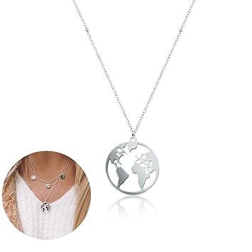 a9d178d11320 ... Mundial Mapa Mundial Collar Redondo del diseño Simple de la Tierra  Globo Colgante Collar de Regalo de la joyería para Muchachas de Las Mujeres  (Plata)  ...