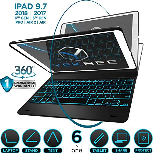 Read About iPad Keyboard Case for iPad 2018 (6th Gen) - iPad 2017 (5th Gen) - iPad Pro 9.7 - iPad Ai...