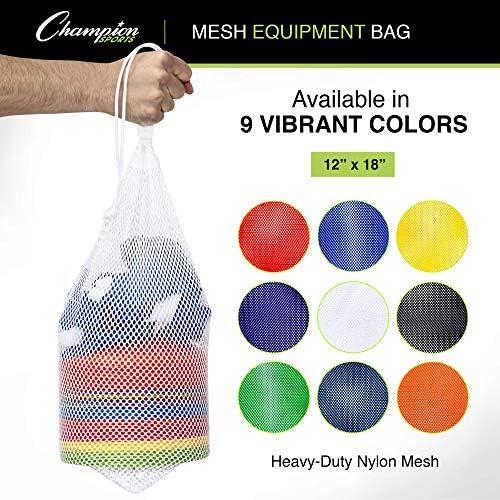 Champion Sports Mesh Sports Equipment Bag, Black, 12×18 Inches – Multipurpose, Nylon Drawstring Bag with Lock and ID Tag for Balls, Beach, Laundry