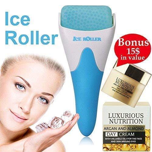 Feel Refreshed At All Times With Facial Ice Roller Puffiness Reducer Anti-Aging Massager Soothing Eye Bags Remover 4 Men, Women, Headache Migraine Reliever+European Super Nutrient Facial Cream+E-Book