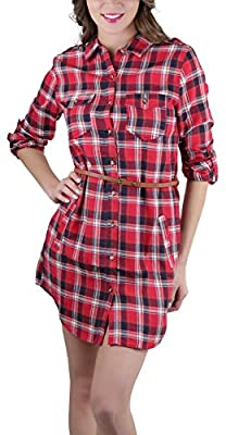 ToBeInStyle Women's 3/4 Roll Up Sleeve Belted Plaid Shirt Dress