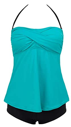 807c3316b7656 Lorasea Women's Two Piece Swimsuits Bandeau Ruched Tankini Tops Swimdress  Padded Bathing Suits with Briefs (