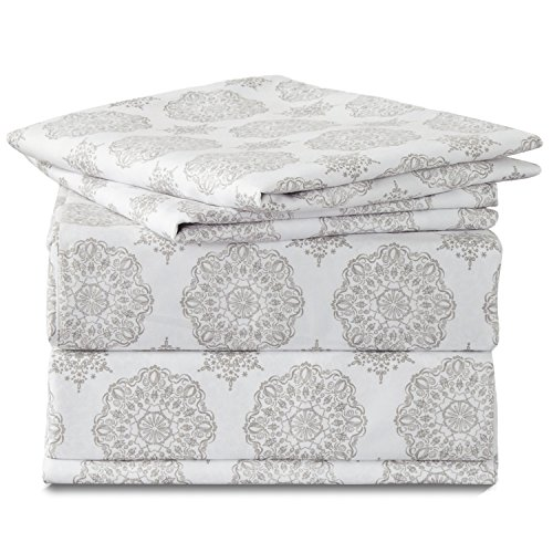 Bedsure Medallion Floral Printed Sheet Set Twin Size Grey Deep Pocket 3 Pieces Sheets and Pillowcase (Set Twin Printed)