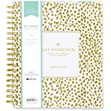 "Day Designer for Blue Sky 2018-2019 Academic Year Daily & Monthly Planner, Flexible Cover, Twin-Wire Binding, 8"" x 10"", Gold Spotty Design"