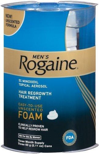Rogaine pour Hommes traitement repousse des cheveux, facile à utiliser de la mousse, 2,11 once, (3 mois d'approvisionnement)