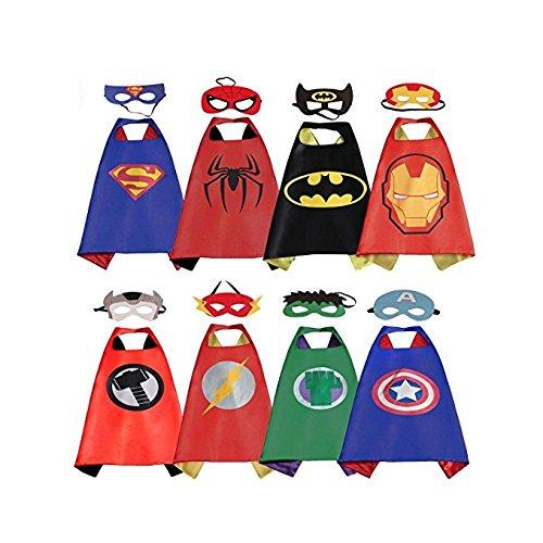 RioRand Comics Cartoon Dress Up Costumes Satin Capes with Felt Masks