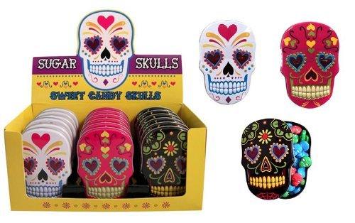 Sugar Skulls Candy Tin x 3 (1 black, 1 pink and 1 white)]()