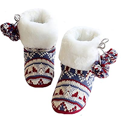 Kennedy Women Comfy Knitted Plush Bootie Slippers Retro Cute Winter Soft Cozy Ankle Booties Non-Slip Home Bedroom Slip-On Warm Shoes