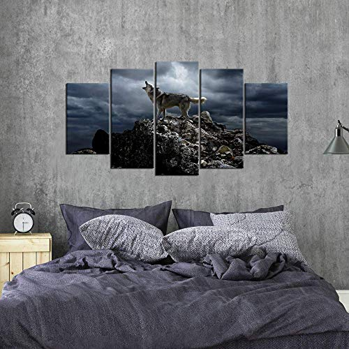 Biuteawal 5 Piece Wall Art Painting Storm Mountain Picture Prints on Canvas Wolf Howling Poster Art Print for Home Modern Decoration Stretched and Framed Ready to Hang
