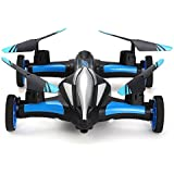 Blexy Flying RC Car 2.4Ghz 4CH Electric Vehicle 6-Axis Gyro Remote Control Quadcopter Headless Mode Stunt Drone Mini RC Helicopter with 3D Flip,LED Lights and One Key Return Blue