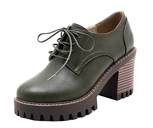 Round Green Pumps Lace Up Heels PU Womens Solid High AllhqFashion Shoes Closed Toe Army xBR4qqACw