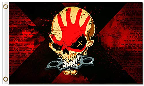 (SINONARUI Five Finger Death Punch 100% Polyester Digital Printing 3x5ft Pirate Flag Outdoor Banner with Brass Grommets)