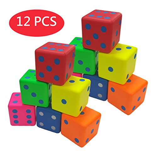Macro Giant 3.2 Inch Soft Foam Playing Dice, Set of 12, Round Edge, Toy Brick, Board Games, Math Teaching, Family Game, Wedding Games, Kid Toy Gifts, Birthday Gift, Educational toy - Foam Playing Dice