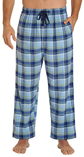 EVERDREAM Sleepwear Mens Flannel Pajama Pants, Long 100% Cotton Pj Bottoms,Size XX-Large Blue