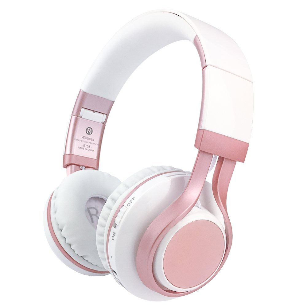 Picun Wireless Bluetooth Headphones 4.0 Foldable Headset Stereo Bass Built-in Mic for Women Girls (Rose Gold)