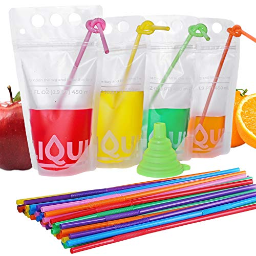 Premium Drink Pouches With Straw 100PCS By LIQUI | Double Layer Reclosable Zips, 3 Finger Holes & 15 FL OZ Fill Line | Disposable Heavy Duty Stand Up Juice Pouches | Include Straws and Small Funnel -