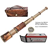 "Nautical Handheld Pirate Brass Telescope with Case, Spyglass Gift for everyone (14"", Dollond)"