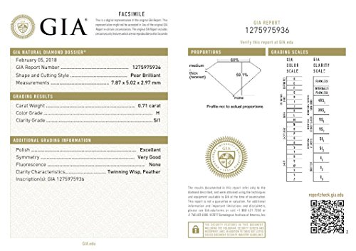 GIA Certified Natural 0.71 Carat Pear Diamond with H Color & SI1 Clarity by GIA (Image #1)