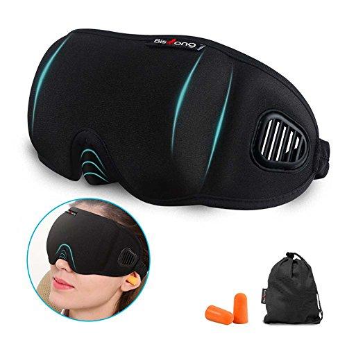 Sleep Mask, 100% Light Blocking Eye Mask, with 3D Contoured Deep Molded Eye Cover and Big Nose Baffle, Zero Pressure on Eyes for A Full Nights Sleep.