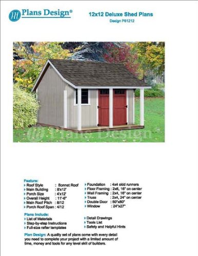 12' x 12' Storage Shed with Porch Plans for Backyard Garden - Design #P81212