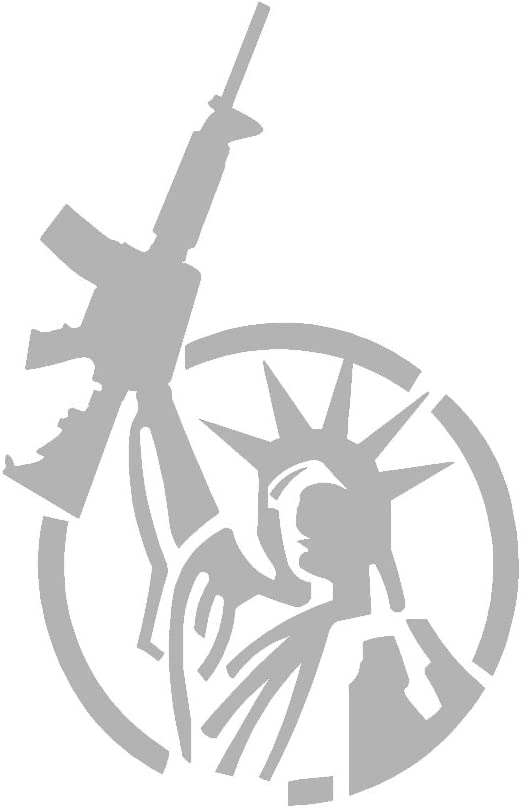 """Statue Of Liberty AR-15 Freedom V1 Vinyl Decal by stickerdad - size: 7"""", color: SILVER - Windows, Walls, Bumpers, Laptop, Lockers, etc."""