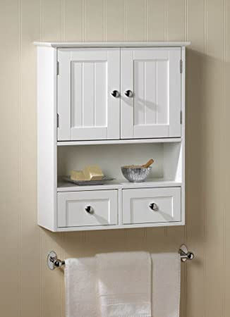 NANTUCKET STYLE STORAGE WALL CABINET WITH DRAWER WHITE BATH DECOR  NEW~10016915