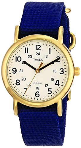 Timex Unisex T2P4759J Weekender Gold-Tone Watch with Blue Nylon (Timex Watch Nylon Band)