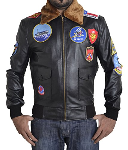 Top Gun Jacket Patches (Toff Hub Men's Top Gun faux leather jacket with embriodery patches (M))