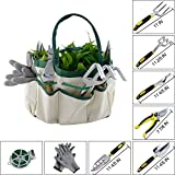 9Pcs Garden Tool Sets-a Plant Rope,Soft Gloves,6 Ergonomic Gardening Tools and a Garden Tote