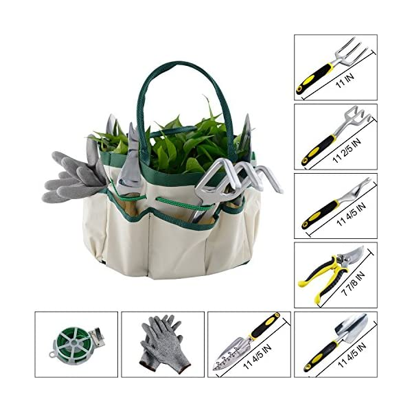 Ucharge-9Pcs-Garden-Tool-Sets-a-Plant-RopeSoft-Gloves6-Ergonomic-Gardening-Tools-and-a-Garden-Tote