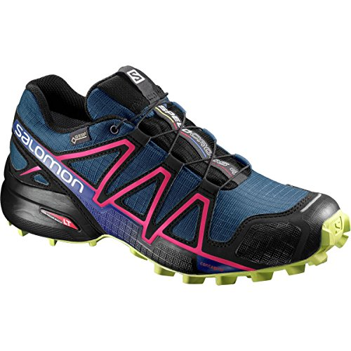 Salomon Speedcross 4 Gtx W, Zapatillas de Trail Running para Mujer Azul (Poseidon/virtual Pink/sunny Lime)