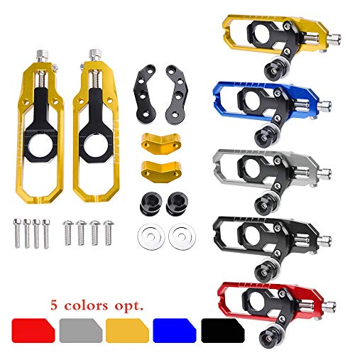 Motorcycle Accessories Chain Adjusters Tensioner Catena with Spool CNC for Suzuki GSXR600 GSXR750 GSXR 600 750 2006 2007 2008 2009 2010 (Red) (Gsxr750 Rear Axle)