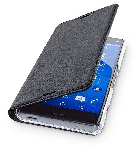 wiiuka Echt Ledertasche TRAVEL Sony Xperia Z3 Compact Hülle mit Kartenfach Schwarz extra Dünn Premium Design Leder Tasche Case