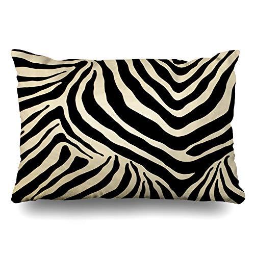 Ahawoso Throw Pillow Cover Pillowcase Poppy Baby Black Beige Zebra Stripes Design Decorative Pillow Case Home Decor 16x24 Inches Cushion Case
