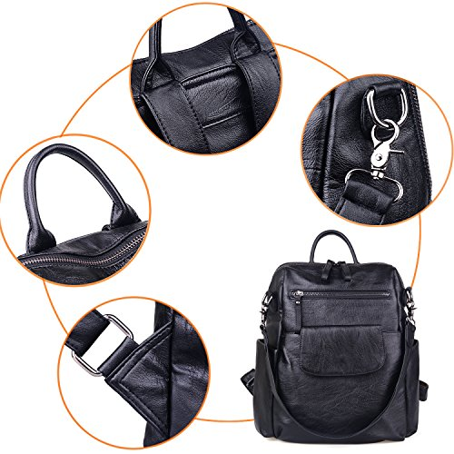 Jack Shoulder Black Bag Women amp;Chris Leather WB202C Handbags for PU Satchel Soft Backpack 4qZ1wx4Tzr